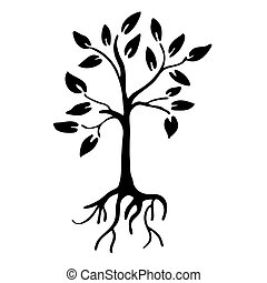 Hiqh quality Tree silhouette with leaves and roots