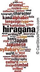 Hiragana word cloud concept. Vector illustration