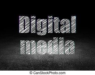hirdetés, concept:, digital közeg, alatt, grunge, sötét szoba