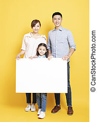 hirdetés, tiszta, család, transzparens, boldog