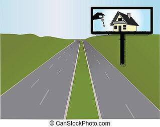 hirdetőtábla, vektor, ábra, autóút