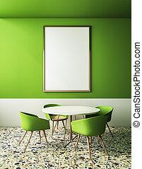 hirdetőtábla, zöld, kávéház, modern