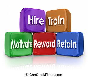 hire, ブロック, 代表団, movitate, 列車, 人間, 保ちなさい, 報酬, 資源