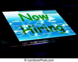 hire, 仕事, 求人, スクリーン, 雇用, オンラインで, 今, ショー