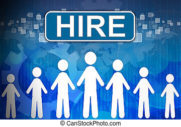 Hire ,Business concept in word Human resources