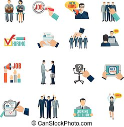 Hire Flat Icons Set - Personnel hiring and recruitment flat...