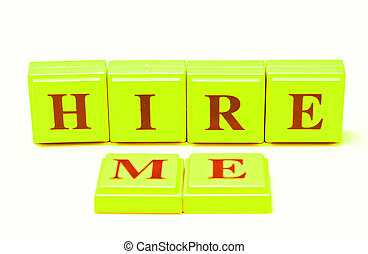 Hire Me spelled out in colored blocks.