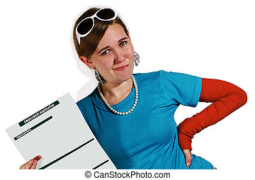 Hire me? - Teenage girl holding a job application isolated...