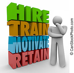 hire, tog, motivere, bibeholde, ansatte, bibeholdelse,...