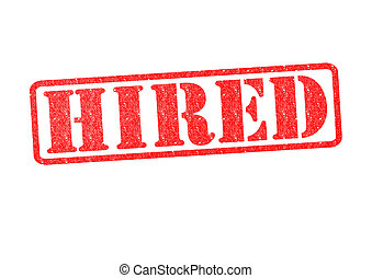 HIRED Rubber Stamp over a white background.