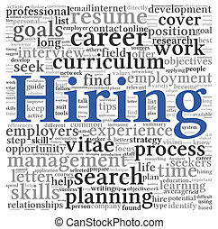 Hiring concept in word tag cloud