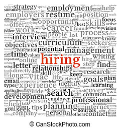 Hiring concept in word tag cloud - Hiring and job search...