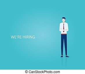 Vector of a businessman recruiter looking for new employees