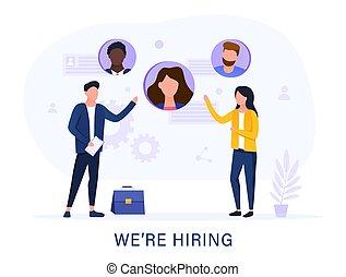 Hiring employment or job vacancy concept