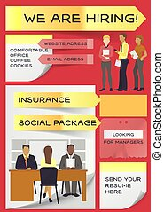 Hiring job vector interviewed people on business interview meeting and interviewer recruiting interviewee in office illustration recruitment backdrop of man woman worker characters career background
