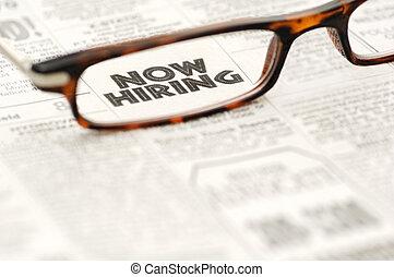 hiring nu, klassificeret reklame., indramm, ind, glas
