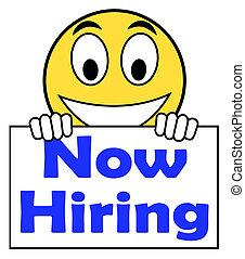 hiring nu, på, tegn, show, rekrutering, online, hire,...