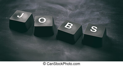 Hiring online concept. Jobs written on keyboard keys on black background, banner, view from above. 3d illustration
