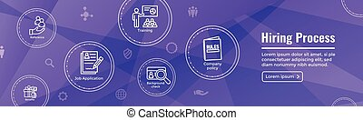 Hiring Process icon set with web header banner