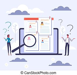 Hiring recruitment human resources concept. Vector flat graphic design cartoon illustration