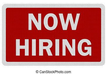 hiring', señal, foto, aislado, realista, 'now, blanco