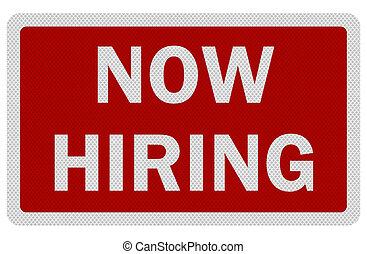 hiring', signe, photo, isolé, réaliste, 'now, blanc