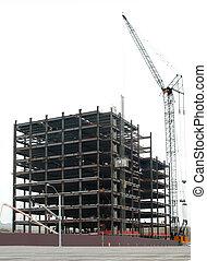 hirise under construction on white