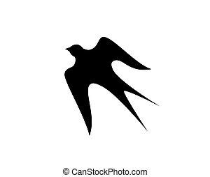 hirondelle, oiseau volant, silhouette