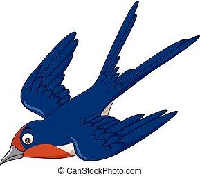 hirondelle, voler, dessin animé, oiseau