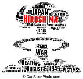 Hiroshima atomic bombing word cloud concept