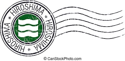 Hiroshima city grunge postal rubber stamp and flag on white...