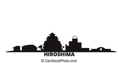 hiroshima, ciudad, aislado, negro, viaje, contorno, japón,...