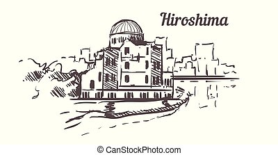 hiroshima, dibujado, isolated., parque, sketch., monumento ...