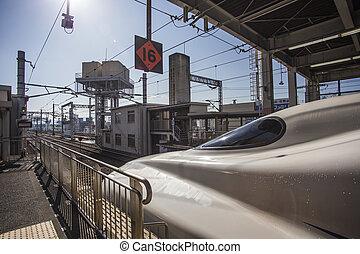 HIROSHIMA, JAPAN - OCTOBER 28: Shinkansen in hiroshima, Japan on