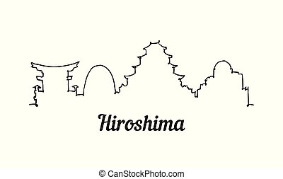 hiroshima, moderno, línea, skyline., simple, uno, vector., ...