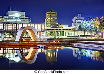 Hiroshima Peace Memorial Park - Cenotaph through which the...