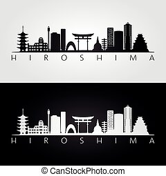 Hiroshima skyline and landmarks silhouette, black and white...