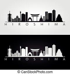 Hiroshima skyline and landmarks silhouette, black and white...