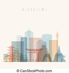 Hiroshima skyline detailed silhouette. Transparent style....