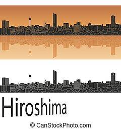 Hiroshima skyline in orange background in editable vector...