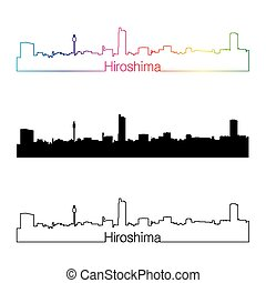Hiroshima skyline linear style with rainbow in editable...