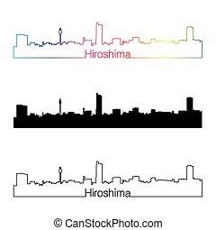 Hiroshima skyline linear style with rainbow in editable...