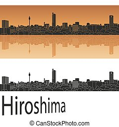 Hiroshima skyline in orange background in editable vector...