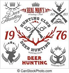 hirsch, hunting., satz, von, abzeichen, etiketten, logo, design, elements.