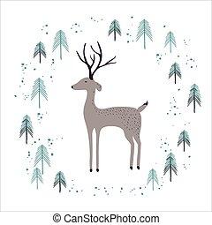 hirsch, in, winter, kiefernwald, freigestellt, auf, white.