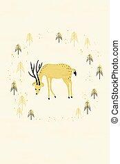 hirsch, in, winter, kiefernwald, karte