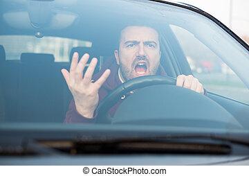his, грубый, driving, arguing, автомобиль, много, человек