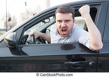 his, грубый, driving, arguing, автомобиль, человек