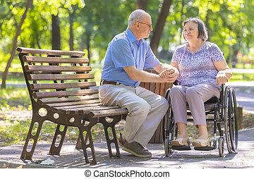 his, жена, инвалидная коляска, пожилой, укрепляет, человек