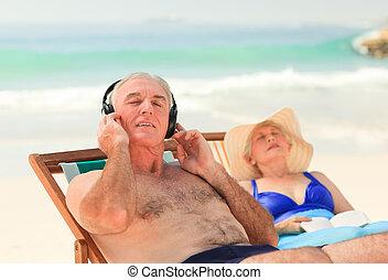 his, музыка, в то время как, жена, спать, человек, прослушивание